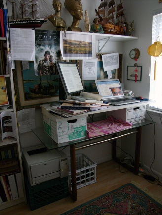 Here's where I'm writing The Black Scroll. Notice my makeshift high desk so I can stand?