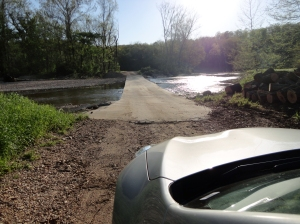 You have to cross four of these fords to get to my parent's place. If it rains hard, you wait til the water goes down. This is road WW. You get there first from B and then W.