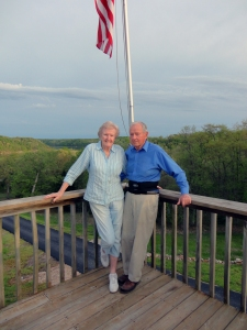 My Dad and Mom. Ages 88 and 89. Married 66 years. On the deck of their house in the Lake of the Ozarks on Big Buffalo Creek. 47 miles to nearest Walmart & hospital. 20 miles to nearest town Cole Camp population 1200.
