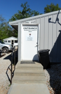 """Entrance to the Eagle Club where we ate Mother's Day Breakfast prepared by the menfolk. Note warning, """"No firearms allowed."""""""