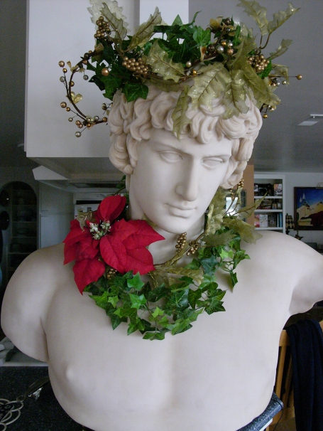 Antinous, beloved of Hadrian, cherished by me, festooned as Dionysus or the Ghost of Christmas Present?