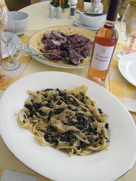 Roasted rabbit in white wine with sagne torte con funghi (pasta with mushrooms). Both my own recipes.