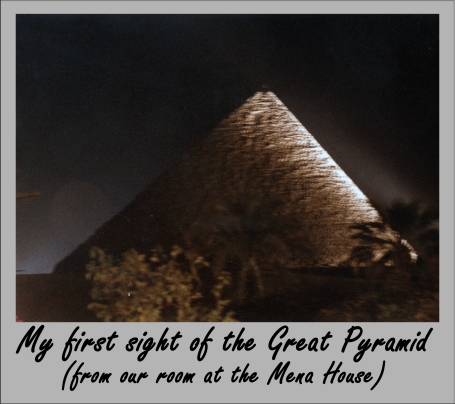 The Great Pyramid at night from our room at the Mena House, Giza, Egypt.
