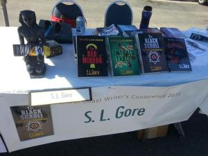 Getting set up for the book fair. Perfectionist that I am, I cringe a little, but there it is.