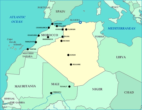 Highlighted towns from my Sahara Odyssey.
