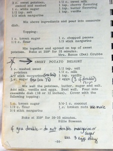 A page from the Walkertown NC Ladies cookbook with recipe for the most heavenly sweet yams ever.